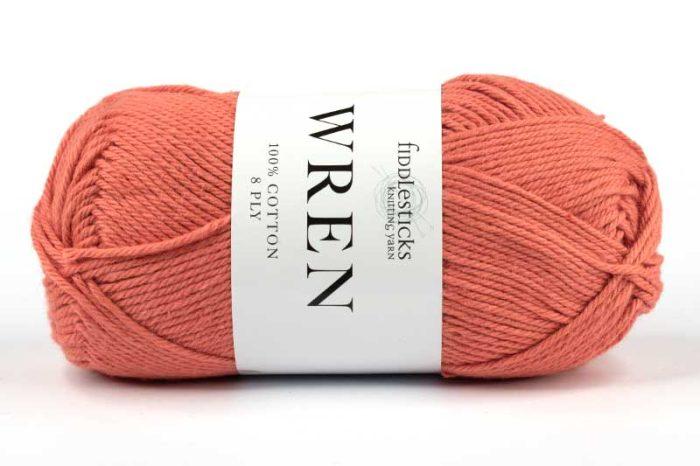 Fiddlesticks Wren Cotton 8 ply Coral