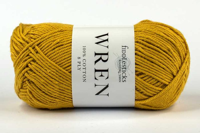 Fiddlesticks Wren Cotton 8 ply Mustard