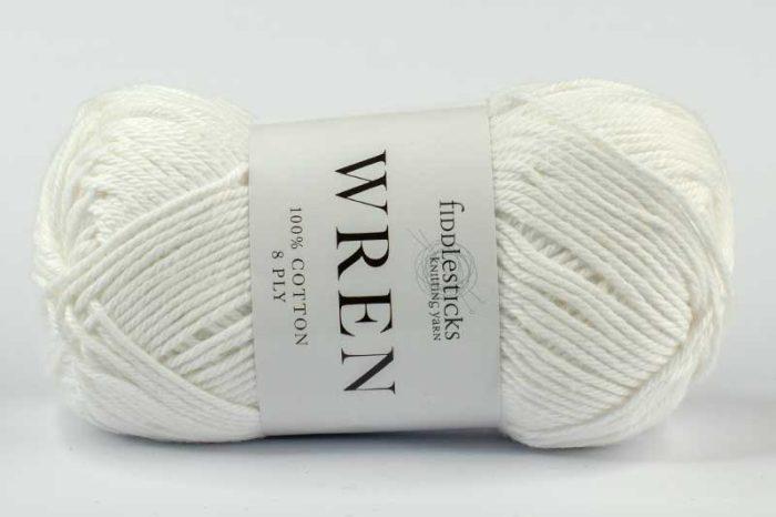 Fiddlesticks Wren Cotton 8 ply White