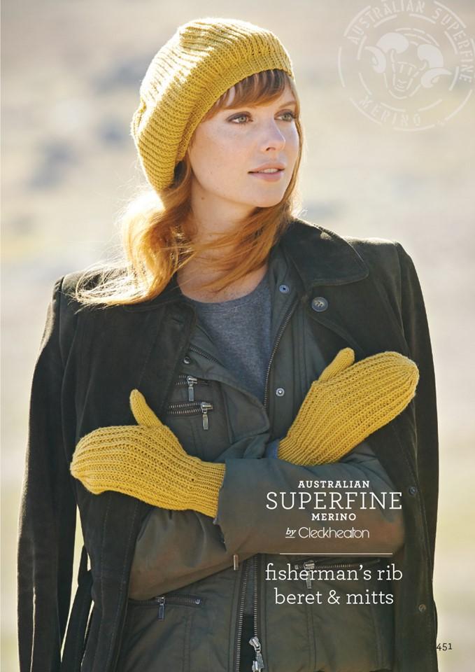 Cleckheaton Superfine Fisherman Rib beret and mitts