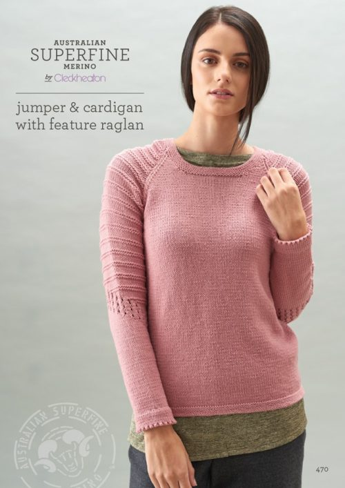 Cleckheaton Superfine Jumper Cardigan Feature Raglan