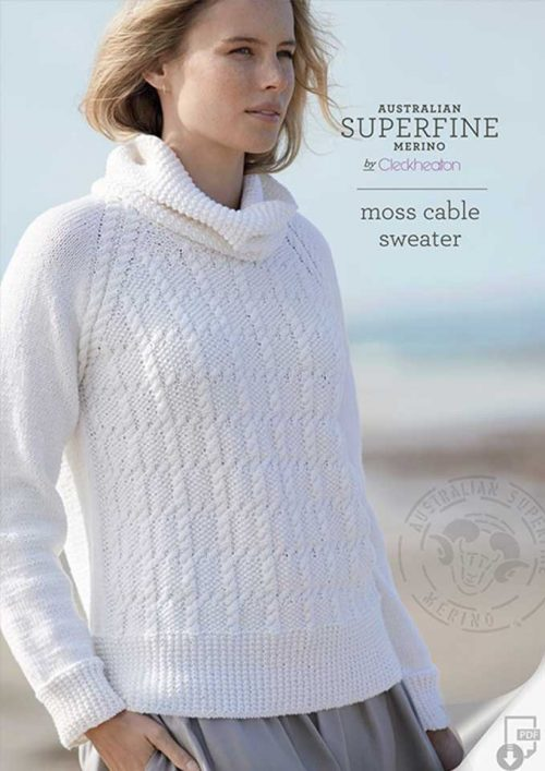 Cleckheaton Superfine Moss Cable Sweater
