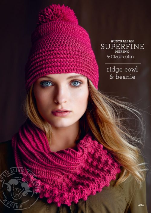 Cleckheaton Superfine Ridge cowl and beanie