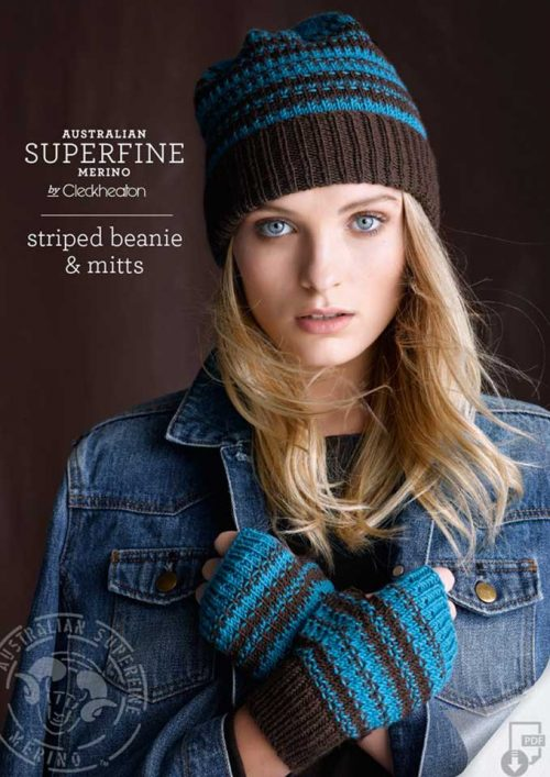 Cleckheaton Superfine Striped Beanie Mitts