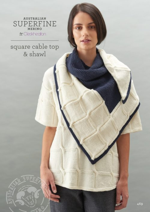 Cleckheaton Superfine Wrap Square Cable Top Shawl