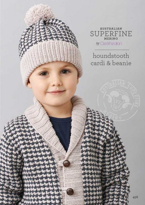 Cleckheaton Superfine Houndstooth Cardi and Beanie