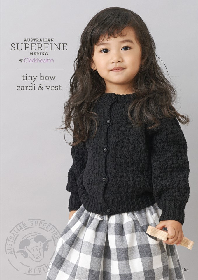 Cleckheaton Superfine Tiny bow cardi and vest