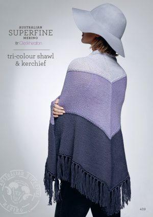 Cleckheaton Superfine Tri colour Shawl and Kerchief