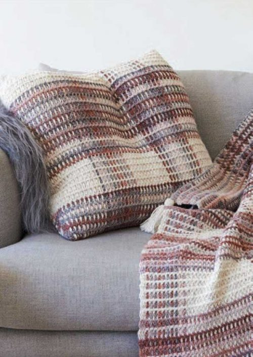 Cleckheaton California Crochet Plaid Cushion