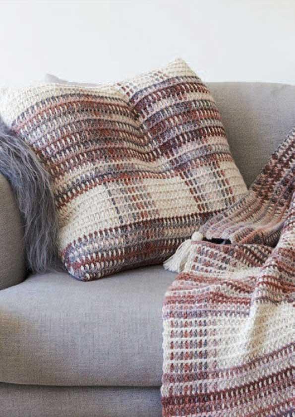 Cleckheaton California Crochet Plaid Cushion