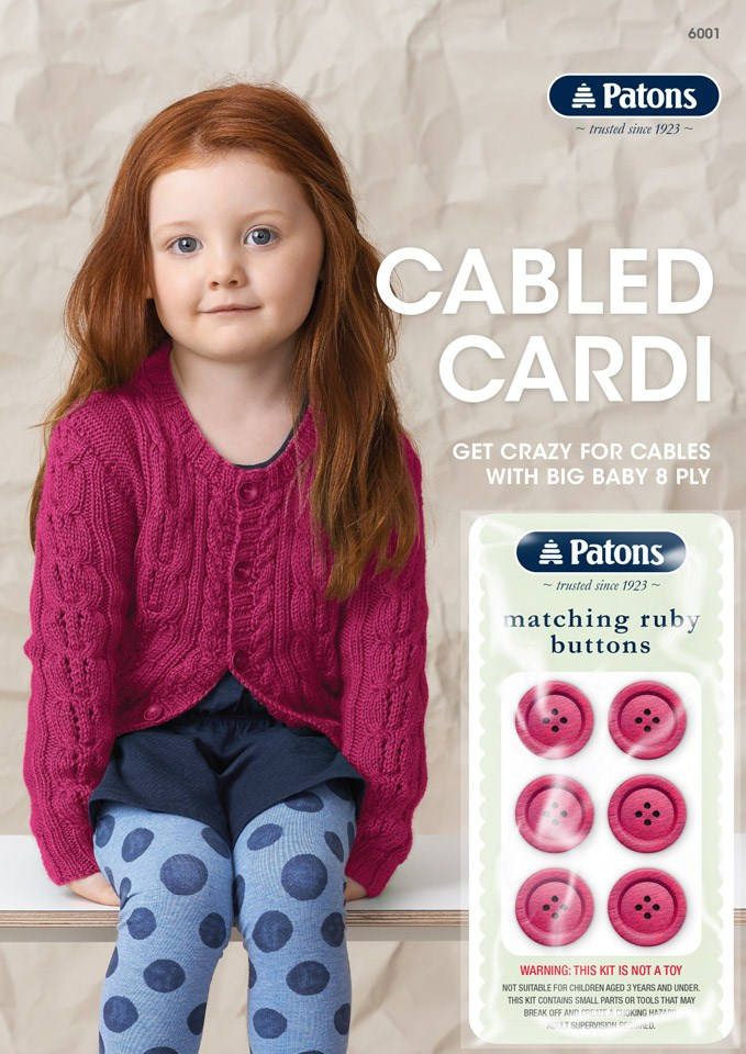 Patons Cable Cardi with bonus buttons