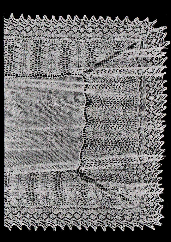 Patons Dreamtime Merino 4 ply Feather Knitted Shawl