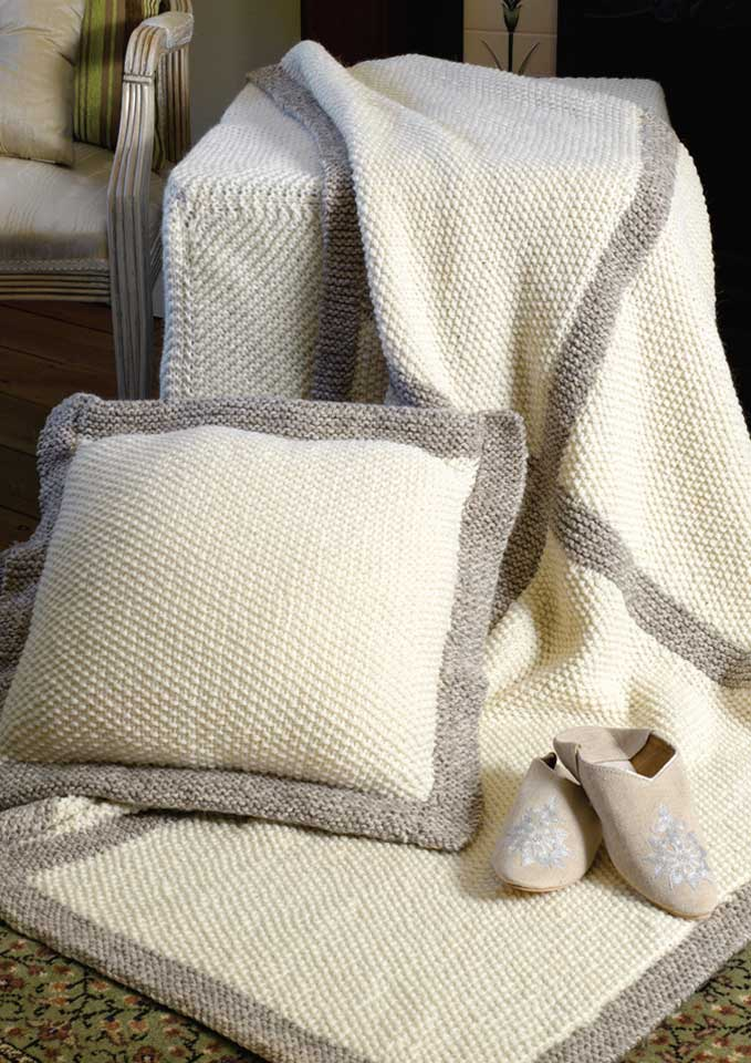 Patons Inca Moss Stitch Rug and Cushion Cover
