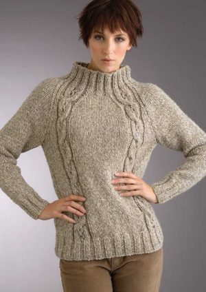 Patons Inca Raglan Eyelet Cable Sweater