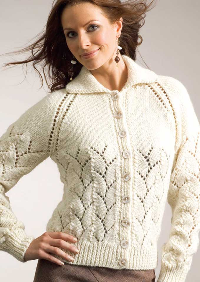 Patons Jet 12 Ply Eyelet & Lace Cardigan