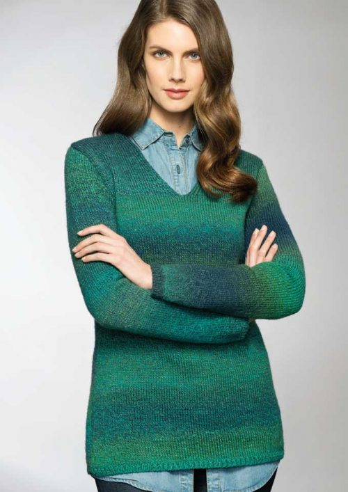 Patons Rainbow 8 Ply Ladies V Neck Jumper