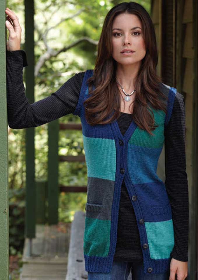 Patons Totem 8 ply Colour Block Vest